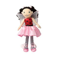 """Manhattan Toy Groovy Girls Lacey Ladybug Ballerina Fashion Doll. From Manhattan Toy's multiple award-winning Groovy Girls collection of soft fashion dolls and accessories. Soft doll features embroidered facial features and hands. These soft-bodied dolls with removable wings and outfits have a flair for fashion. Every Groovy Girls doll can be accessorized with fashion, dollhouse style furnishings, and more. Lacey measures 13"""" tall; soft doll for children ages 3 years +."""