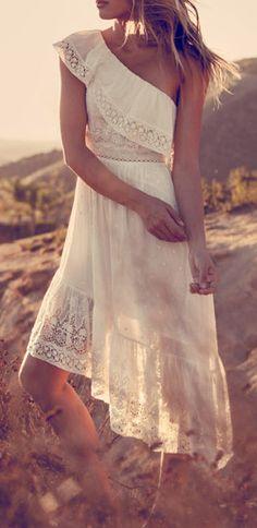 Crochet one shoulder dress