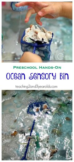 Add sea creatures and fishing nets to your preschool sensory table and add extra fine motor to your ocean theme!