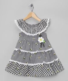 Take a look at this Black Bee Tiered Dress - Infant by Samara on today! Little Girl Outfits, Little Girl Dresses, Kids Outfits, Baby Girl Dresses, Baby Dress, Sewing Clothes, Doll Clothes, Frock Patterns, Frock Design