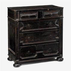 Charles II ebonized oak chest of drawers, circa 1680