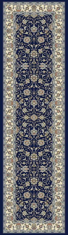 Features:  -Ancient Garden collection.  -Low pile.  -Persian design.  -Made in the USA.  Primary Color: -Navy.  Type of Backing: -Cotton.  Material: -Polypropylene.  Product Care: -Vacuum and Spot Cle