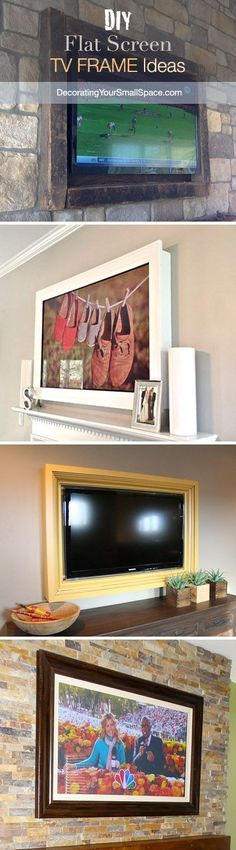 Disguise that Flat Screen! ~ I like the ones at the bottom that frame the tv and use it in a wall montage