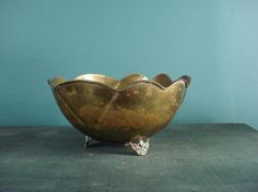Have Feet Won't Travel  Footed Brass Petal Bowl by HappyGoVintage, $15.50