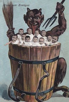 Making delicious cute babies soup. | 21 Vintage Postcards Of Krampus That Will Haunt Your Dreams