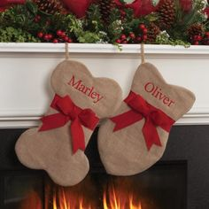 Personalized Burlap Cat Fish and Dog Bone Christmas Stocking, Beige Unique Christmas Stockings, Dog Christmas Stocking, Indoor Christmas Decorations, Christmas Crafts, Christmas Ideas, Dog Christmas Ornaments, Christmas Mantles, Handmade Christmas, Classy Christmas