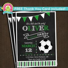 Soccer Birthday Invitation - ANY AGE This listing is for a printable Soccer Birthday Invitation and matching Thank You Card, delivered via