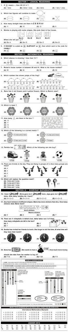 Class 1 IMO Sample Paper for Level Exam are given below. You may refer to these sample papers to prepare for the Second Level IMO Level Exam to be held Worksheets For Class 1, First Grade Math Worksheets, 3rd Grade Math Worksheets, 1st Grade Math, Grade 1, Grammar Worksheets, Fourth Grade, Class 1 Maths, Maths Exam