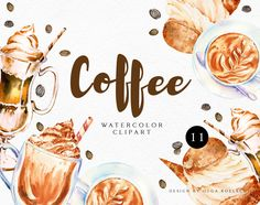 Watercolor Sunflower, Floral Watercolor, Painted Cups, Hand Painted, Ice Cream Clipart, Coffee Clipart, Glitter Frame, Autumn Coffee, Cafe Menu