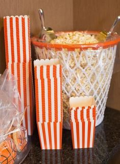 2016 basketball party create a fun snack bar complete with popcorn. Basketball Baby Shower, Basketball Birthday Parties, Birthday Party Themes, Basketball Party Favors, Basketball Wedding, Sports Party Favors, Birthday Ideas, Sports Theme Birthday, Theme Parties