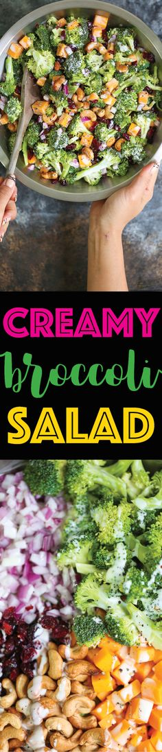 Creamy Broccoli Salad - The BEST broccoli salad you will ever have!!! With cheese, cashews, onion and dried cranberries. And the creamy dressing is HEAVEN!