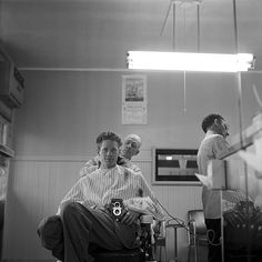 Nick DeWolf, Self-portrait April 1958 wakefield, massachusetts Barber Shop Haircuts, Haircuts For Men, Hair Salon Names, Shaved Hair Cuts, Small Cafe Design, Beauty Salon Interior, Beauty Salons, Salon Style, Working People