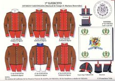Together they formed Division Vascongada of Army. Military Art, Military History, Spanish Flags, Army Uniform, Napoleonic Wars, Hats, Ideas, Field Marshal, Military Uniforms