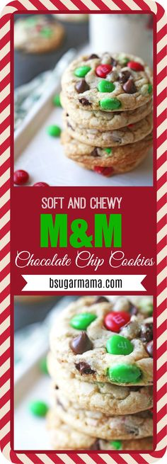These are Soft and Chewy M&M Chocolate Chip Cookies made with holiday M&M's to get you in the Christmas spirit. This is an easy cookie recipe that you will love each year!