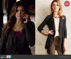 Elena's long grey cardigan on The Vampire Diaries.  Outfit Details: http://wornontv.net/40840/ #TheVampireDiaries