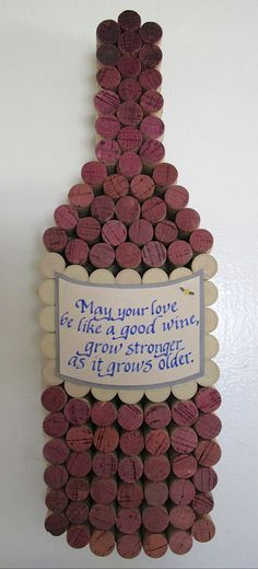 Handmade Wine Cork WIne Bottle Cork Board with Hand Cut Label with Personalized Calligraphy Quote, Add Date for Perfect Wedding Gift. $85.00, via Etsy.