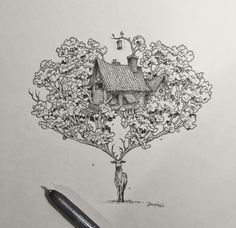 Little House in the Woods by Kerby Rosanes