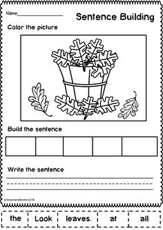 Who doesn't love fun and seasonal worksheets?!  This resource is a selection of 10 sentence building (sentence scramble) worksheets designed for Kindergarten and 1st grade. It features fun Autumn/Fall themed sentences and pictures. Students simply cut, sort, and paste the words into a sentence, write the sentence, and color the picture. Writing Center Kindergarten, First Grade Writing, Kindergarten Curriculum, Summer Worksheets, 1st Grade Worksheets, Writing Worksheets, Sentence Building, Word Building, 10 Sentences