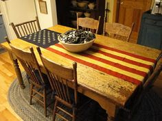 Flag for a Table Runner - Kittredge Mecantile Let Freedom Ring, Home Of The Brave, Patriotic Decorations, Old Glory, A Table, Porch Table, Table Flag, Dinner Table, Wood Table