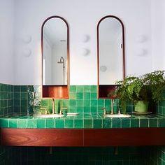 More than 30 cute ideas of emerald green bathroom tile designs TRENDHMDCR Bathroom Tile Designs, Bathroom Interior Design, Decor Interior Design, Interior Decorating, Bathroom Ideas, Bathroom Vanities, Decorating Games, Interior Ideas, Remodled Bathrooms