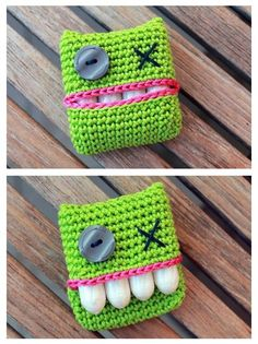 Dotty - (possibly tooth loss once in the month) - monster crochet tampon holder *FREE Pattern* Crochet Home, Love Crochet, Diy Crochet, Crochet Crafts, Yarn Crafts, Crochet Projects, Sewing Projects, Knitting Patterns, Crochet Patterns