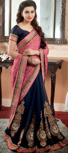 159253: Blue, Pink and Majenta color family Saree with matching unstitched blouse.
