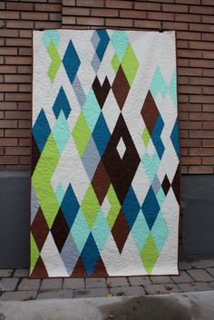 Modern diamond quilt | Flickr - Photo Sharing! Green aqua teal turquoise