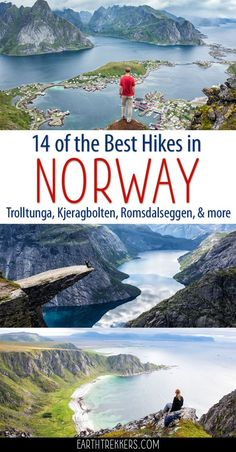 Here are 14 awesome hikes to do in Norway. Stand on Kjeragbolten, pose for photos on Trolltunga, and hike to the peak of Segla in northern Norway. This includes some great hikes in the Lofoten Islands, hikes where you can combine rock climbing or kayaking Lofoten, Hiking Norway, Norway Travel, Norway Camping, Cool Places To Visit, Places To Travel, Reisen In Europa, Bubbline, Mont Saint Michel
