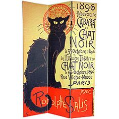 Canvas Double-sided 6-foot Chat Noir Room Divider (China) $125.00 at Overstock.com This versatile room divider lets you bring home the splendor of the Belle and Epoque with these art deco poster prints from turn of the century Paris. Handmade of high-quality wood, this screen will add an elegant touch to any room