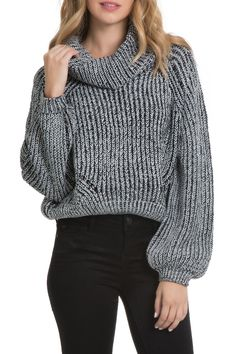 Long sleeve bubble sweater with cowl neck.  Bubble Sleeve Sweater by Elan. Clothing - Sweaters - Cowl Neck Colorado
