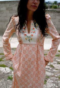 Earthy Goddess Classic Indian Bohemian Maxi Peasant Dress Circa 1960s 1970s
