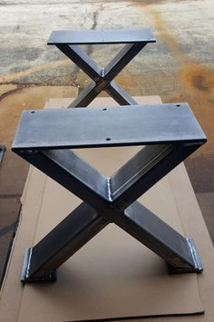 X - Style Bench, End Table, Side table Steel Legs. This listing is for set of 2 Steel Tubing X Bench Legs. 16 H x 12 W - Bench Legs - Made from Steel Tubing - 3 x 1 x 14 ga wall and Steel Flat 1/4 x 5 . - Finish - Raw steel, Clear coated, Black flat. ** Drilled holes, Not included Screws ***Working with custom dimensions. Fast quote***