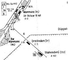 Gleisplan 1958 Friedhofsbahn Wannsee-Stahnsdorf