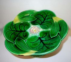 George Jones Majolica Lily Compote Plate English by ThisArtGallery