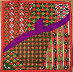 Vintage 1960s Vera Neumann Stunning Asian, GGold Piece Collector Scarf, Purple, Red Green, Frame Worthy MCM Scarf by LOVELADYBIRDVINTAGE on Etsy