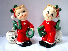 Vintage Christmas Figurine Candle Holder Figurines by junquegypsy