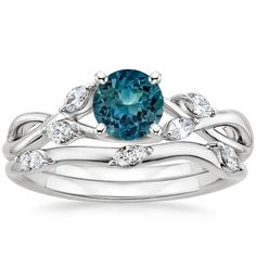 Love this design!! Would want a traditional diamond instead of sapphire though I think... 18K White Gold Sapphire Willow Diamond Matched Set from Brilliant Earth