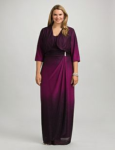 Purple Ombre Dress, with allover glitter on front and back of jacket and dress. Jacket is fully lined and has three-quarter-length sleeves for Mother of the bride