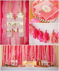 Pink and Gold Baptism birthday party via Kara's Party Ideas | Favors, desserts, printables, invitations, and more! KarasPartyIdeas.com #glit...