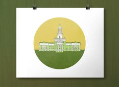 Baylor University Pat Neff Hall green and gold print // This would look great framed in an office! #SicEm