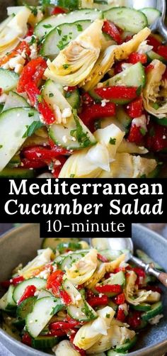 You're only 10 minutes away from this bright and delicious Mediterranean Cucumber Salad, with roasted peppers, artichokes, feta and a light balsamic dressing. 42 calories and 1 Weight Watchers SP | Vinegar | Recipes | Dressing | Balsamic Best Low Carb Recipes, Top Recipes, Side Dish Recipes, Real Food Recipes, Favorite Recipes, Mediterranean Cucumber Salad, Mediterranean Diet Recipes, Healthy Dishes, Healthy Foods