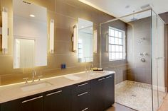 Houzz: Universal Bath Design: Light Your Bathroom for All Ages and Abilities ✦ Learn about uplighting, downlighting, visual cueing, and avoiding glare for a bathroom that's safe and works for all. #Lighting Our Carino Wall Bath Sconces with White Frosted Glass Shade - Pack of Two would be perfect for this idea: http://lineadiliara.com/collections/wall-sconce/products/carino-sconce