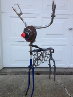 Welded deer from bicycle parts