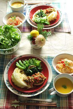 日本人のごはん/お弁当 Japanese meals/Bento ヘルシーワンプレートランチ