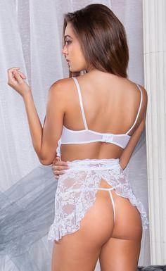 Fly Away Back White Lace Chemise from iCollection #sexylingerie #lingeriegift #sleepwear #lingerielux #honeymoonlingerie #bridallingerie