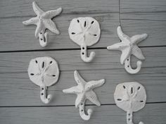 2 Starfish 2 sanddollars wall hook in white or color you choose on Etsy, $44.00