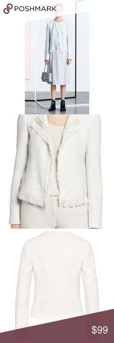 NWOT Hugo Boss Tweed Fringe Collarless Jacket Stunning and modern tweed fringe collarless jacket/blazer by HUGO BOSS. Looks sophisticated with business attire OR just as beautiful with skinnies/heels for a night out. The detailing on this is incredible. Hugo Boss Jackets & Coats Blazers