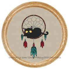 Cross Stitch Pattern PDF cat dream catcher DD0197