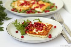 Fried halloumi cheese with pomegranate