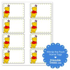 Printable Winnie the Pooh Name Tags from PrintableTreats.com